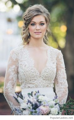 Classy updo wedding hairstyle and makeup