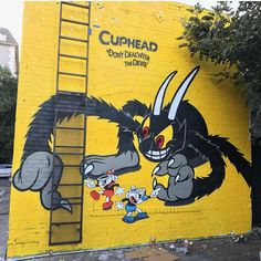 "@cupheadgame en Instagram: ""Great street art for the @cupheadgame launch party over the weekend. #cuphead #cupheadgame…"""