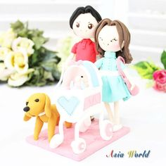 Family clay doll cake topper customized give birth by AsiaWorld, $77.00
