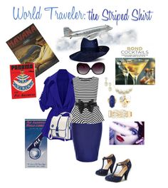 """""""World Traveler: the Striped Shirt"""" by melissab-honey-bee ❤ liked on Polyvore featuring Marmont Hill, Thos. Baker, City Chic, WearAll, Chi Chi, Torrid, Chicnova Fashion, Kenneth Jay Lane, Dot & Bo and Piers Atkinson"""