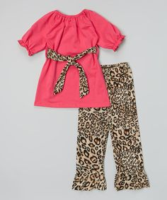 Tutu AND Lulu Hot Pink Top & Brown Leopard Pants - Infant, Toddler & Girls by Tutu AND Lulu #zulily #zulilyfinds