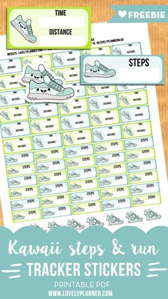FREE Printable Kawaii Steps and run tracker stickers for your planner - Perfect to keep you motivated on your diet and exercise routine!