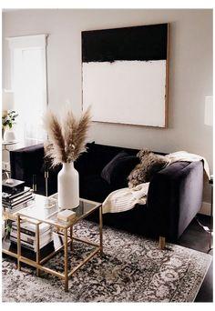 Black And Gold Living Room, Living Room Modern, Home Living Room, Living Room Designs, Black Living Room Furniture, Bedroom Furniture, Black Furniture, Black Couch Decor, Black Carpet Living Room