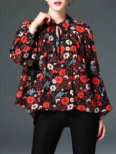 #AdoreWe #StyleWe Tops - ELENYUN Multicolor Vintage Keyhole Floral-print Blouse - AdoreWe.net