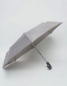 Fulton Open & Close Umbrella Windowpane Check - Gray