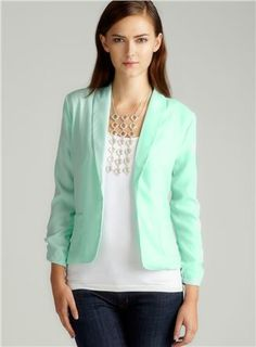 RUCHED SLV BLAZER IN HONEYDEW $30