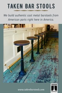 All you need to know before buying a Ballard Roman cast metal barstool. Taken handcrafts cast metal barstools based on classic cast iron barstool designs. Metal Bar Stools, Country, Patio, Kitchen Remodel, Farmhouse Decor, Building A House, Kitchen Design, Home Improvement, Walnut Stain
