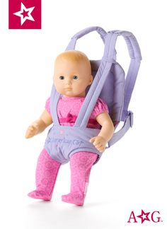 American Girl Bitty Baby can see the sights while your girl is out and about! This front carrier for doll is made of soft fabric. Baby Doll Nursery, Baby Doll Toys, Reborn Toddler Dolls, Baby Alive Dolls, Disney Princess Set, Barbie Princess, American Girl Accessories, Baby Doll Accessories, Toys For Girls