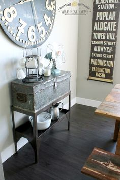 This blogger took a vintage toolbox and paired it with a vintage store shelf (that used to be red!) and created this very unique display shelf for her kitchen!