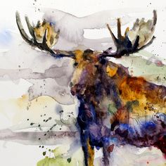 MOOSE Watercolor Print by Dean Crouser by DeanCrouserArt on Etsy