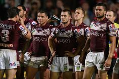 Sea Eagles players look dejected during the round seven #NRL match between the Manly Sea Eagles and the South Sydney Rabbitohs at Brookvale Oval on April 26, 2013 in Sydney, Australia.