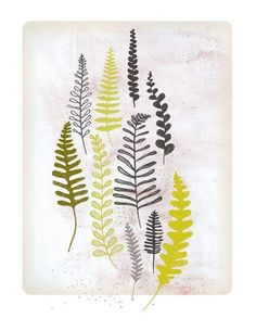 I am totally making drapes with these kind of fern-y patterns stenciled on.....  Art... By Etsy seller Groundwork.