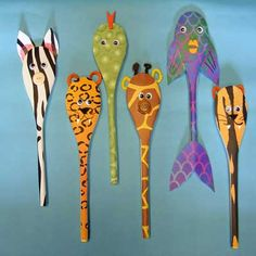 Animal Spoon Character - for full instructions click here http://playresource.org/animal-print-spoons/
