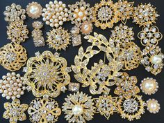 32 pcs Gold Brooch Bouquet DIY Kit wholesale by yourperfectgifts