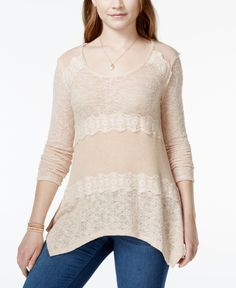 American Rag Mixed-Knit Lace-Trim Pullover Sweater, Only at Macy's