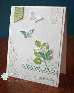 Rita's great card: Kinda Eclectic, And Many More, Bitty Butterfly punch, Hexagon Hive Thinlit, & more. Love the color combo! All supplies from Stampin' Up!