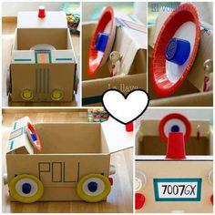 Bildergebnis für car craft for kids Projects For Kids, Diy For Kids, Crafts For Kids, Diy Projects, Cardboard Car, Cardboard Box Crafts, Craft Activities, Toddler Activities, Transportation Theme