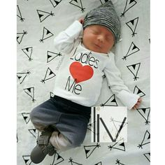 Celebrate Valentine's Day in style with our little boys funny t shirt and baby boy bodysuit that says, 'Ladies (heart) Me'. With black writing and a red heart, this baby and toddler boy shirt is a must have in every little guys closet for Valentines Day or any other day of the year for that matter!