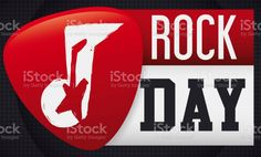 Loose-leaf calendar and red plectrum with musical note and electric guitar silhouette inside of it, over amplifier in the background ready to celebrate Rock Day. Magazine Articles, Free Vector Art, Music Notes, Photo Illustration, Image Now, Textbook, Royalty Free Images, Rock N Roll, Musicals