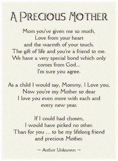 Mother's Day Poem. Thanks Mom. Miss you. xoxo courtesy of @Heather Creswell Priddy