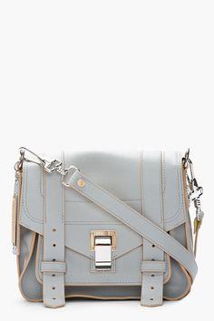PROENZA SCHOULER Grey & Banana Yellow Leather Ps1 Pouch Shoulder Bag