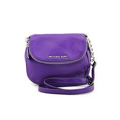 Women's Cross-Body Handbags - Michael Kors Bedford Small Leather Flap Crossbody Grape -- More info could be found at the image url.