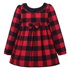 Richie House Little girls' Winter Plaid Dress with Fleece RH2248-A-5-FBA
