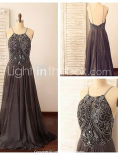 Formal Evening Dress A-line Spaghetti Straps Sweep / Brush Train Chiffon with Beading 2017 - $129.99