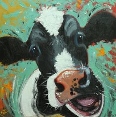 Cow painting 1008 inch animal original oil by RozArt on Etsy Cow Painting, Painting & Drawing, Cow Pictures, Cow Art, Pallet Art, Farm Yard, Whimsical Art, Beach Art, Animal Paintings