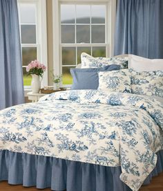 Lenoxdale Toile Duvet Cover  in black or blue @ countrycurtains.com