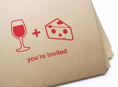 wine and cheese party invites by girlingearstudio.  Ordered these for a wine  cheese party I'm having- LOVE.