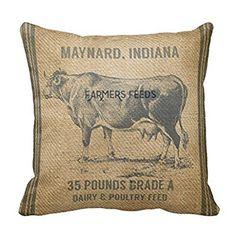 "Burlap Cow Feed Sack Pillow Case 18"" * 18"""