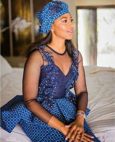 Shweshwe Dresses with Lace Latest Designs - Sunika Traditional African Clothes South African Dresses, African Bridesmaid Dresses, African Wedding Attire, Latest African Fashion Dresses, African Attire, African Weddings, Sesotho Traditional Dresses, South African Traditional Dresses, Traditional Wedding Attire
