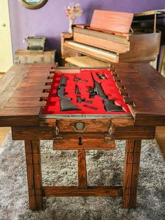 hidden gun storage table safe