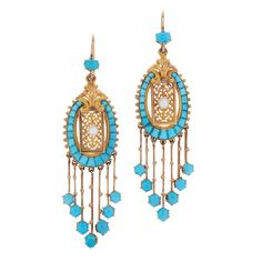 Victorian Turquoise Fringe Pearl Gold Pendant Earrings. A fringe set with vibrant turquoise is mounted in 18 karat yellow gold with French hallmarks. The earrings measure 2-1/2 inches in length and are 5/8 inch at the widest point, c 1880s