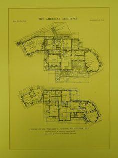 Floor Plans, House of Mr. Willard C. Jackson, Wilmington, DE, 1914, Original Plan. Shape & Bready