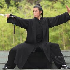 Style: wudang Taoist tai chi uniform with long vest. Item Includes: jacket, pants, long vest(the vest has no sleeves). In this style, there are two pockets in the jacket, no frog buttons at cuffs, elastics at waist and ankles. | eBay!