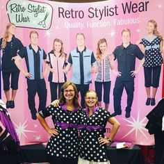 Look at these cuties in our Polka-Dot smock! How cute are they? One more day tomorrow at The All American Groom Expo! Www.retrostylistwear.com #retrostylistwear, #chicagogroomers, #aagroom