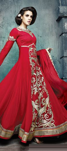 434028: Red and Maroon color family semi-stiched Anarkali Suits .