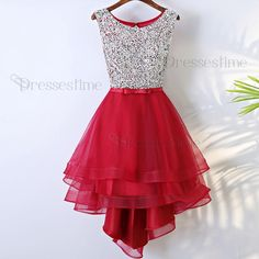 A-Line Round Neck High Low Red Tulle Homecoming Dress with Beading