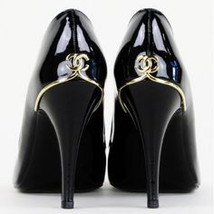 Chanel Black Patent Leather Peep Toe Pumps  @Ali Carr - these are your size ;)