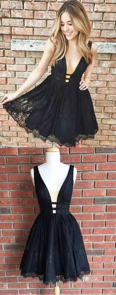 Cute Black Lace Homecoming Dress, Short V Neck