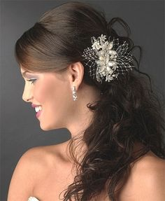 Glistening Ivory and Rum Pink Floral Pearl Bridal Hair Comb - so unique and so gorgeous! Affordable Elegance Bridal -