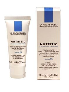 La Roche-Posay Nutritic Transforming Care For Very Dry Skin Ultra-fine Cream With Biolipids 5.0%, 1.35-Ounce Boxes by La Roche-Posay. $15.95. Also recommended for exisitng rough, dry scaly skin. Helps reinforce skin's natural barrier to protect from external agessors & helps retains skin's natural moisture. Recommended for very dry facial skin that is highly sensitive with persistant tightness and rigidity. Ultra -fine cream absorbs quickly. Contains Biolipids? 5.0%...