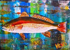Red Drum Fish Painting Maine Abstract Folk Art Outsider Coastwalker | eBay