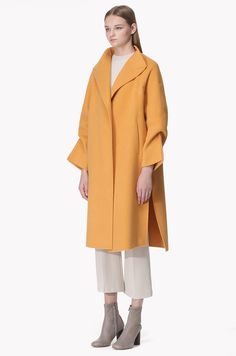 Wool cashmere blend slit cuffs coat