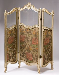 19th C. French Rococo Style Three Panel Childs Size Dressing Screen