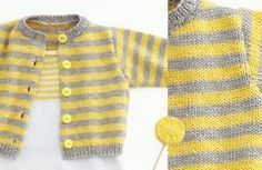 Opera Baby Cardigan - Free Knitting Pattern : This cute striped baby cardigan is soft and made of the beautiful cotton yarn Phil Opera. Get the free knitting pattern of the Opera baby Cardigan here! Baby Knitting Patterns, Baby Sweater Patterns, Baby Cardigan Knitting Pattern, Baby Patterns, Free Knitting, Knitting Ideas, Baby Pullover Muster, American Doll Clothes, Free Baby Stuff