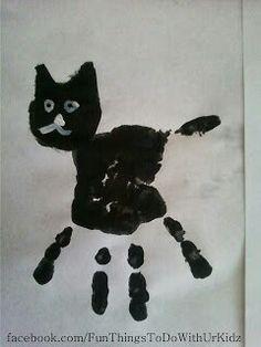Kitty art with kids handprints