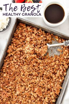 Healthy Homemade Granola Recipe Healthy Granola Recipe with Pecans & Coconut is made with only 8 ingredients and ready in 30 minutes! It's gluten-free, dairy-free vegan and has no refined sugar! The perfect healthy breakfast or snack! Pecan Recipes, Cooking Recipes, Homemade Granola Recipes, Easy Granola Recipe Healthy, Homemade Sugar Free Granola, Low Sugar Granola, Freezer Recipes, Homemade Recipe, Drink Recipes